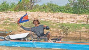 Fischerboot mit Kambodscha Fahne