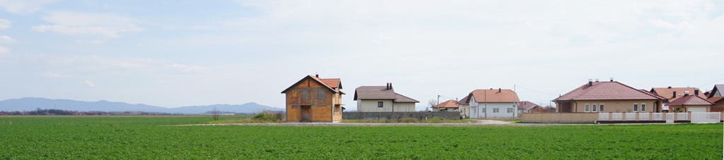 Landschaft mit Häusern in Ungarn